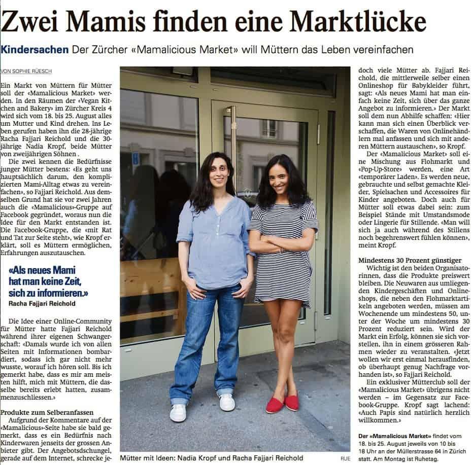 MAMALICIOUS Market in der Limmattaler Zeitung